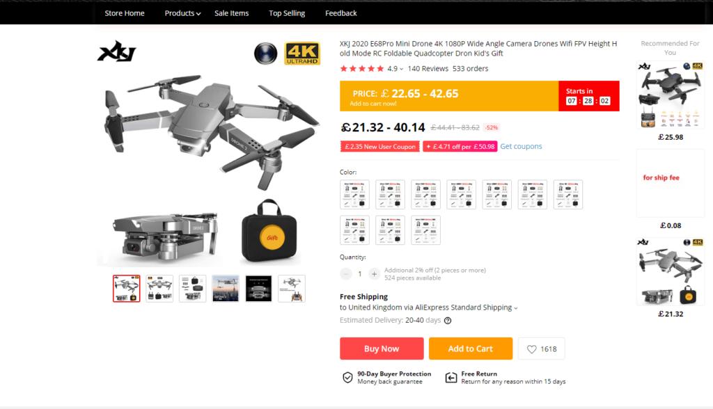 Aliexpress Drone Listing
