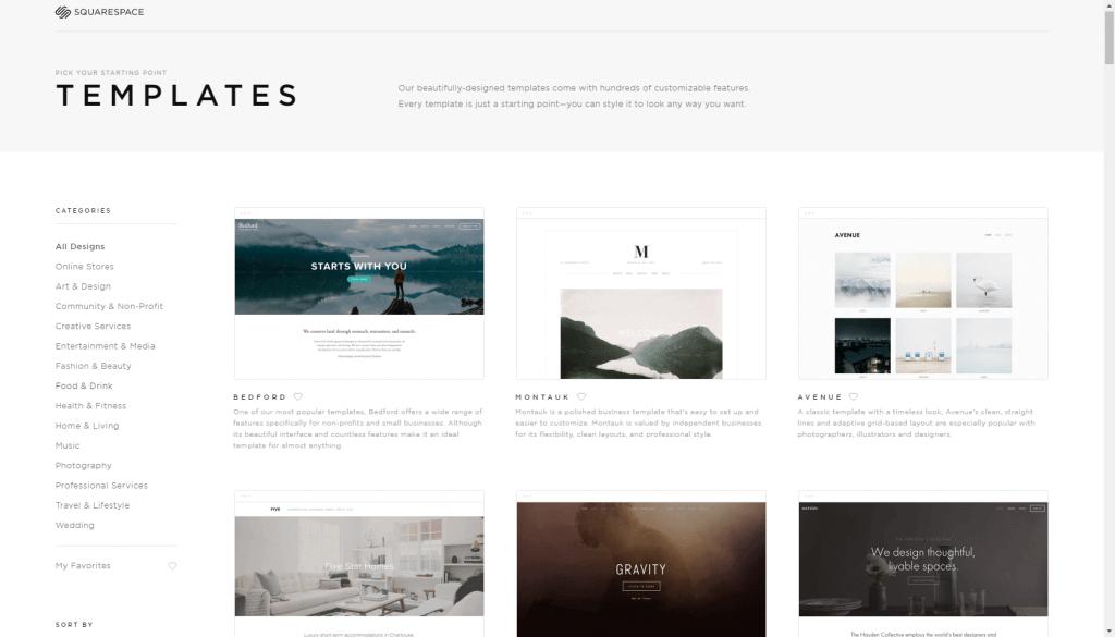 squarespace free website builder