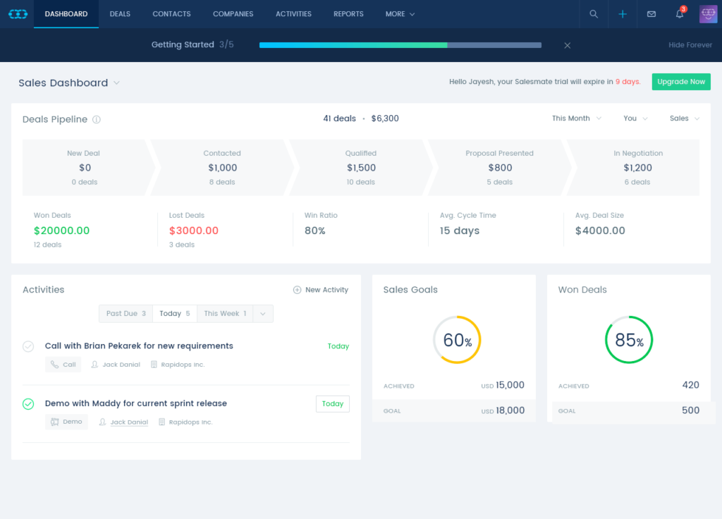 salesmate review dashboard